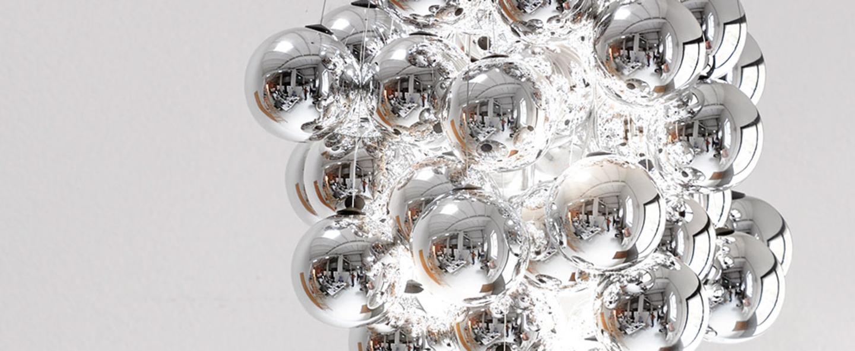 Suspension stochastic d87sg gris 72 spheres led 2700k 1035lm o50cm h60cm luceplan normal