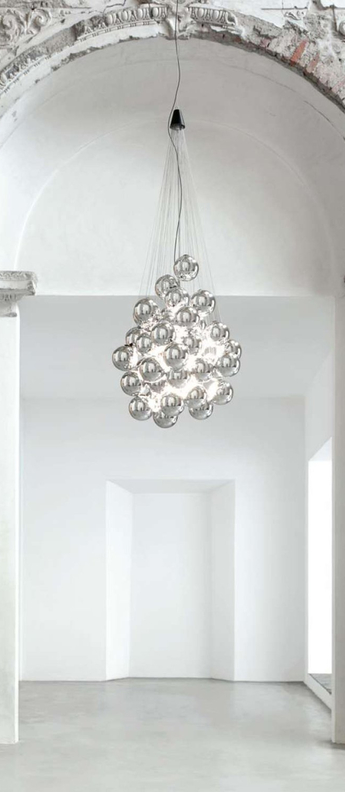Suspension stochastic d87sg gris 72 spheres led 2700k 1035lm o50cm h60cm luceplan normal