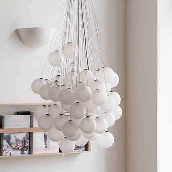 Suspension stochastic d87sp 48 spheres blanc opalin led 2700k 1541lm o40cm h60cm luceplan normal