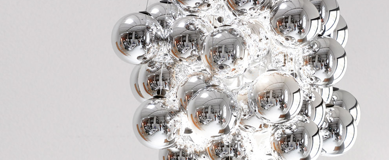 Suspension stochastic d87sp 48 spheres gris led 2700k 1035lm o40cm h60cm luceplan normal