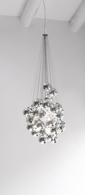 Suspension stochastic d87sp 48 spheres gris led 2700k 1035lm o40cm h60cm luceplan normal