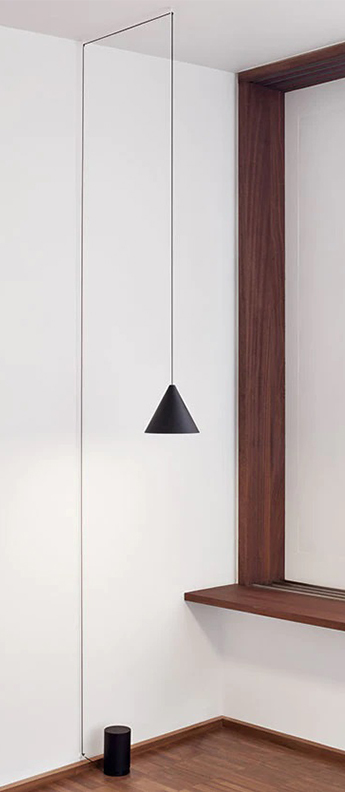 Suspension string light cone 12m alimentation sol noir led 2700k 1033lm o19cm h16cm flos normal