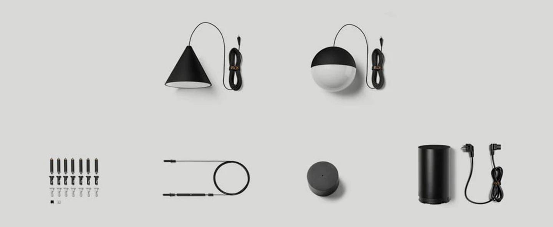 Suspension string light sphere 12m alimentation sol noir led 2700k 1345lm o19cm h16cm flos normal