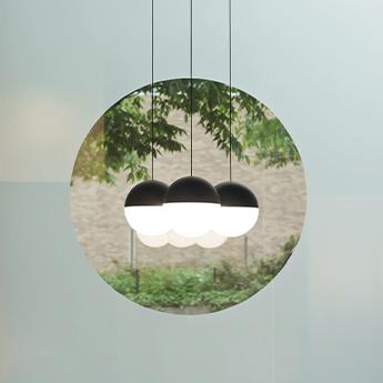Suspension string light sphere 22m rosace noir led 2700k 1345lm o19cm h16cm flos normal