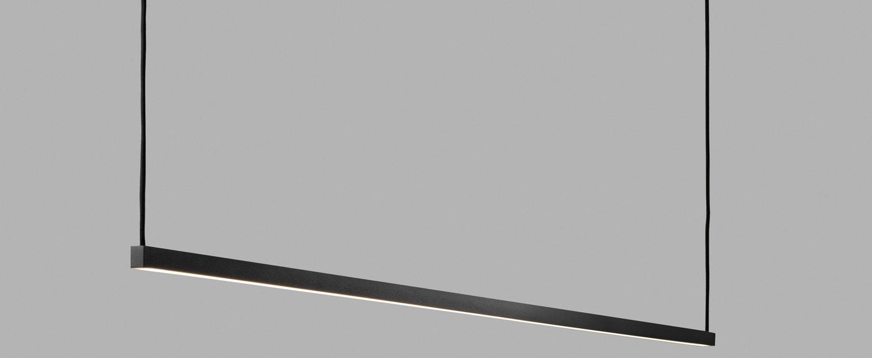 Suspension stripe s2000 noir led 2700k 2970lm l200cm h45cm light point normal