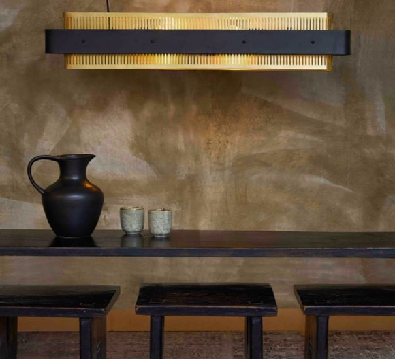 Suspension, Tarya, noir et laiton, L90cm, H18cm - Gong - Luminaires Nedgis