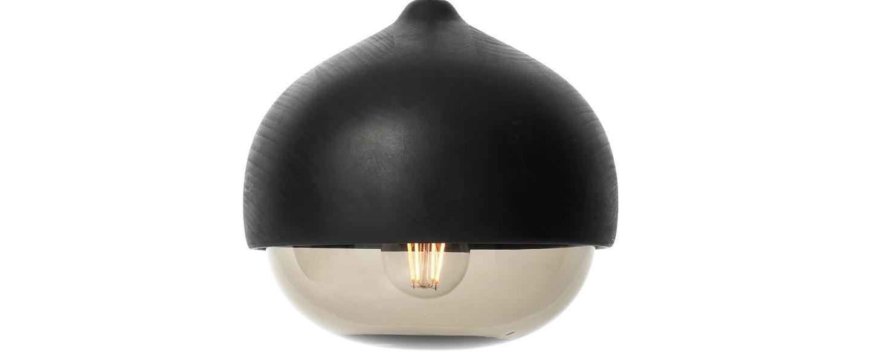 Suspension terho m bois tilleul opalin noir o24cm h21 5cm mater normal