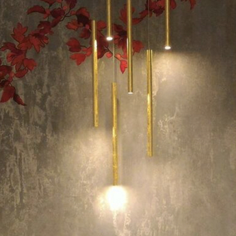 Pendant light, To-Be, brass, IP40,Ø3,2cm, H65cmLED, 2700K, 363lm - PANZERI  - Nedgis Lighting