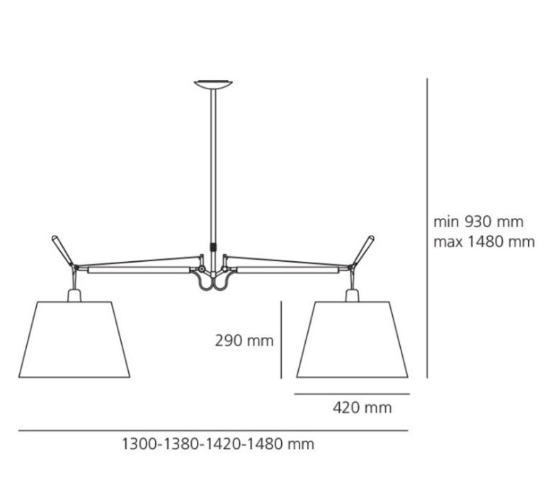 Tolomeo suspension basculante 2 bracci michele de lucchi suspension pendant light  artemide 0630010a 0780030a  design signed nedgis 115841 product