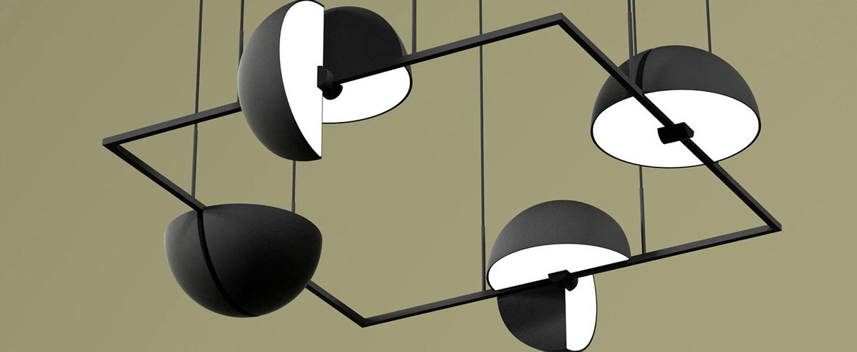 Suspension trapeze quartette noir led l74cm h28cm oblure normal