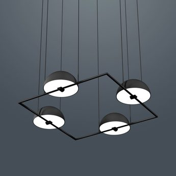 Suspension trapeze quartette noir led l74cm h28cm oblure normal
