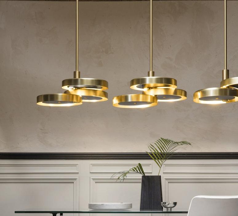 Triarc  suspension pendant light  bert frank triarc pendant light satin brass whit diffusers  design signed nedgis 70223 product