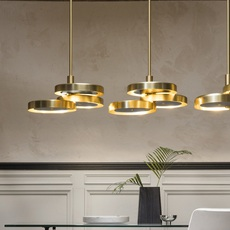 Triarc  suspension pendant light  bert frank triarc pendant light satin brass whit diffusers  design signed nedgis 70223 thumb