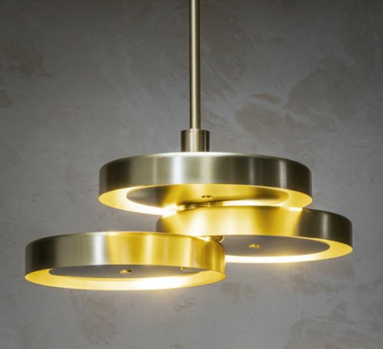 Triarc  suspension pendant light  bert frank triarc pendant light satin brass whit diffusers  design signed nedgis 70224 product