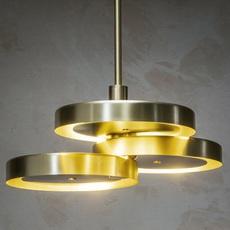 Triarc  suspension pendant light  bert frank triarc pendant light satin brass whit diffusers  design signed nedgis 70224 thumb
