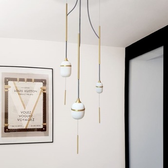 Suspension trio fleur de kaolin blanc laiton o28cm h120cm designheure normal