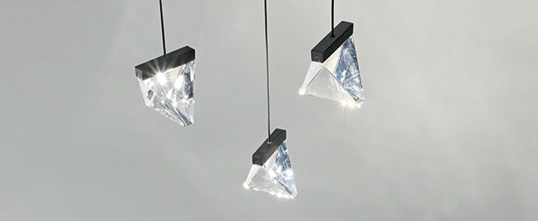 Suspension tripla transparent et anthracite ip40 led 2700k 3x350lm l9 8cm h7 5cm fabbian normal