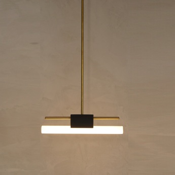 Suspension tubus simple pendant noir et or o50cm hcm contain normal