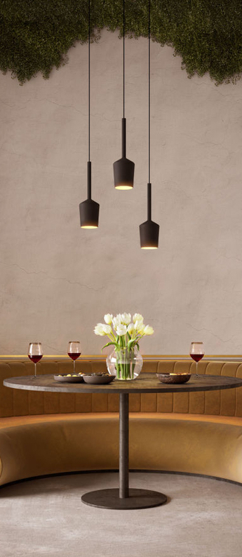 Suspension tulip blossom noir et or o10 9cm h18cm modular lighting normal
