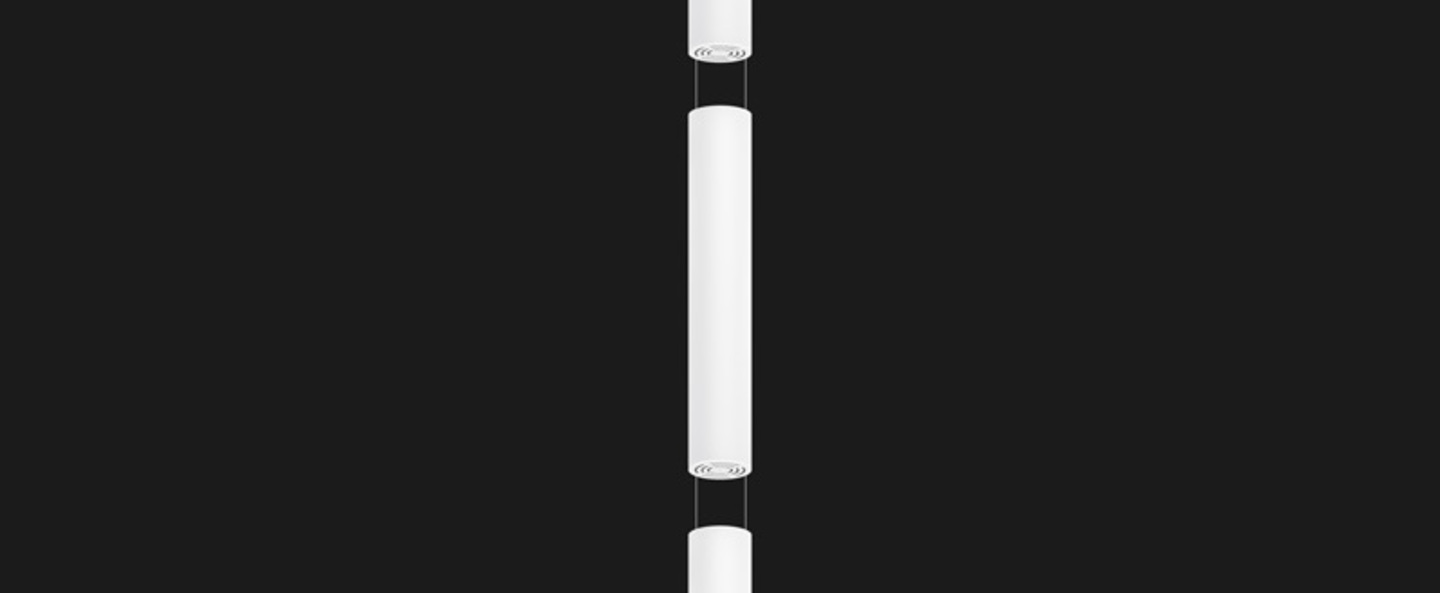 Suspension tunnel led triple round blanc led o20cm h380cm doxis normal