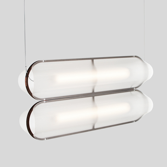 Suspension vale 2 dali transparent rouille led 2700k 2230lm l102cm h15cm andlight normal