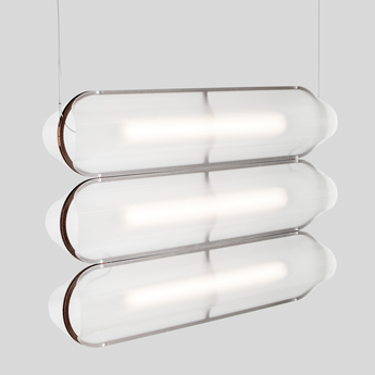 Suspension vale 3 dali transparent rouille led 2700k 3345lm l102cm h15cm andlight normal