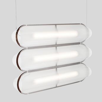 Suspension vale 3 dali transparent rouille led 2700k 3345lm l102cm h15cm andlight normal