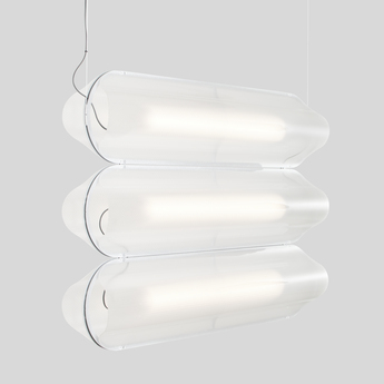 Suspension vale 3 dali transparent silice led 2700k 3345lm l102cm h15cm andlight normal