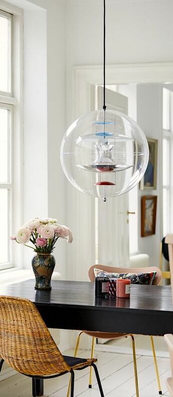 Suspension vp globe large transparent chrome rouge bleu o50cm h50cm verpan normal