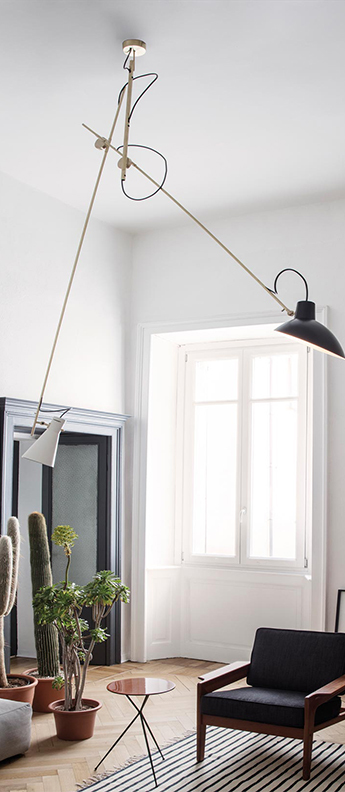 Suspension vv cinquanta noir et blanc laiton l190cm h180cm astep normal