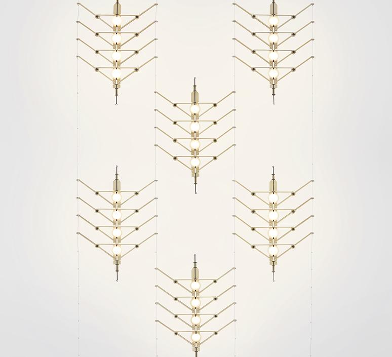 Vvv vantot suspension pendant light  dcw  6 vvv module gold  1 canopy start  1 canopy a   1 canopy b   design signed nedgis 104318 product