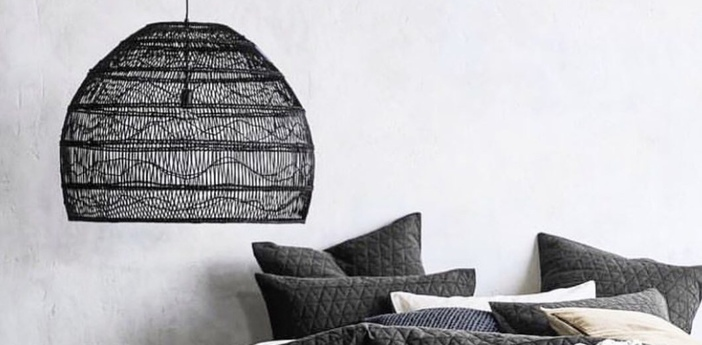 Suspension wicker ball medium noir o60cm h50cm hk living normal