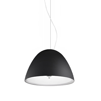 Suspension willy glass gris metallise diffuseur noir o40cm h28cm panzeri normal