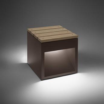 Tabouret d exterieur lumineux lap bench bois marron l45cm b lux normal