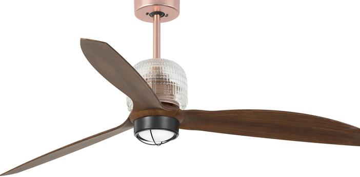 Ventilateur lumineux deco fan ete hiver dc motor cuivre bois led 3000k 600lm o128cm h48 4cm faro normal
