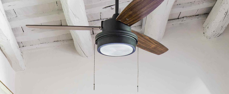 Ventilateur lumineux komodo ete hiver noir o106 8cm h37cm faro normal