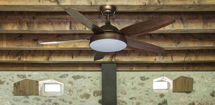 Ventilateur lumineux leyte ete hiver dc motor marron led 2700 a 6000k 990 a 1400 lmo137cm h37cm faro normal