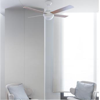 Ventilateur lumineux mini icaria blanc led 2700k 450lm o107cm h40 5cm faro normal