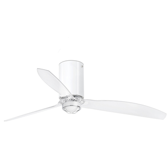 Ventilateur lumineux mini tube ete hiver dc motor blanc brillant transparent o128cm h32 4cm faro normal