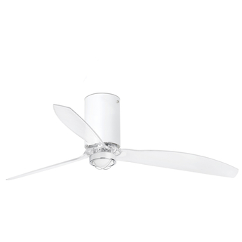 Ventilateur lumineux mini tube ete hiver dc motor blanc mat transparent o128cm h32 4cm faro normal