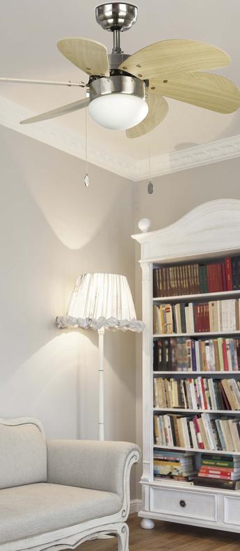 Ventilateur lumineux palao nickel mat o81cm h39cm faro normal