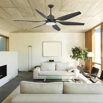 Ventilateur lumineux tilos ete hiver dc motor marron o168 5cm h50cm faro normal