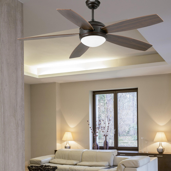 Ventilateur lumineux vanu ete hiver marron o132cm h43cm faro normal