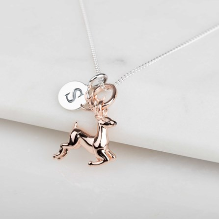 b744ec30eb513 Personalised Rose Gold Leaping Deer Necklace