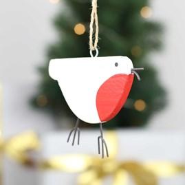 Wooden Hanging Christmas Robin