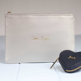 Personalised 'Shine Bright' Metallic Silver Pouch