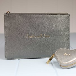 Katie Loxton Personalised 'Sparkle And Shine' Pewter Perfect Pouch