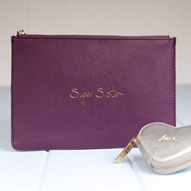 Katie Loxton Personalised 'Super Sister' Merlot Perfect Pouch