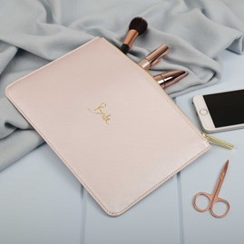 Katie Loxton Personalised 'Bride' Metallic Champagne Perfect Pouch