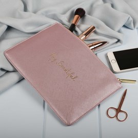 Personalised 'Hey…' Metallic Pink Perfect Pouch
